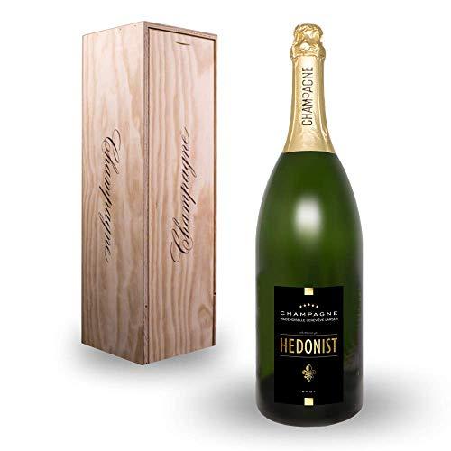Hedonist® Champagner | Jeroboam | exklusiv hergestellt in der Umgebung von Leuvrigny, Frankreich | in edlem Design | feine Aromen | 100{f6f67ae228e152ca6c1bd803f3f67fefbefab1cc37a8a2def83c74386838d97b} Pinot Meunier | Brut 3 L inkl. Holzkiste