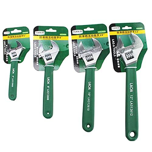 LAOA Juego de 4 llaves ajustables universales de mono de 150/200/250/300 mm con escala de acero inoxidable Llave de mano ajustable anti-deslizante (4 piezas)