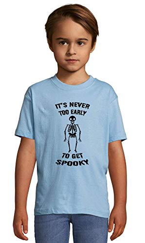 Atprints It's Never Too Early to Get Spooky Heaven Blue Crew Neck Kids T-Shirt 130-140 (10 Year)