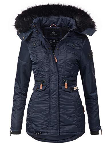 Navahoo Damen Winter-Jacke Winter-Mantel Steppmantel Schätzchen Blau Gr. M