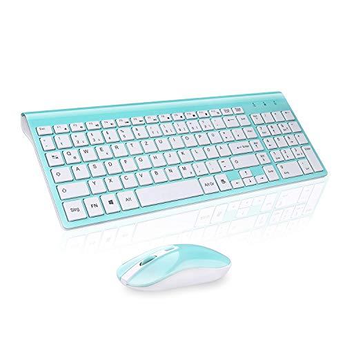 cimetech Tastatur Maus Set Kabellos, 2.4G Ultraslim Full Size Kabellose Tastatur mit Funkmaus, QWERTZ Deutsches Layout, 10m Reichweite, für PC, Desktop, Notebook, Laptop, Windows, (Türkis)