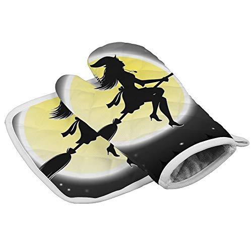 Halloween Heksen Vliegen op Broomsticks Oven Mitts en Pot Houders Dikke Hittebestendige Flexibele Antislip Handschoenen voor Koken Bakken Aangepast