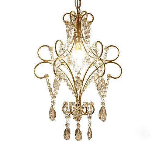 Raelf Europäische und amerikanische Kleine Kronleuchter Kristall-Deckenleuchte Elegante Kristall-Kronleuchter Treppen Garderobe Lampe Hallen-Lampe Single Head Kristall Pendelleuchte Zubehör