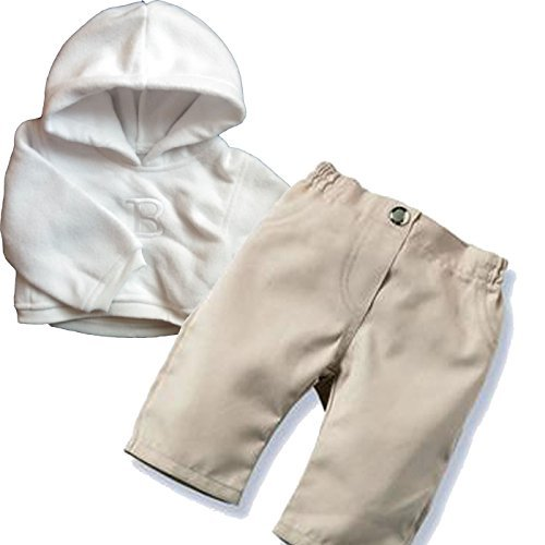 """Middleton Doll Clothes- Tan Pants with White Hoodie for 19"""" Newborn Nursery Baby Dolls and Babble Baby Dolls"""