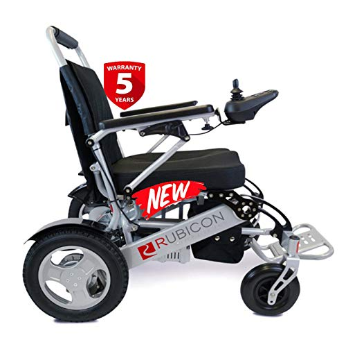 """Rubicon Best Rated Exclusive Dual """"500W"""" Motors Deluxe Electric Wheelchair for Adults. All Terrain Heavy Duty Lightweight Foldable Dual Battery Travel Power Wheelchairs."""