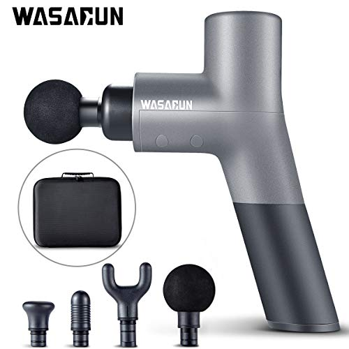 Muscle Massage Gun, WASAGUN Professional Handheld Vibration Massager Device with 5 Adjustable Speed, 4 Attachments, Cordless Electric Percussion Full Body Muscle Massage Equipment & Portable Bag