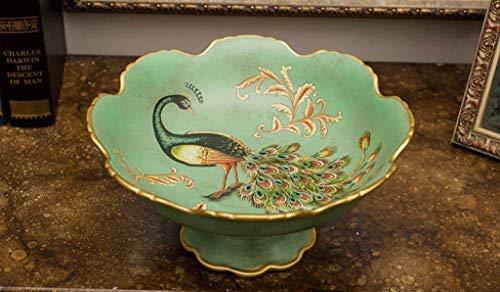 WJSW Blumen und Vögel bemalte Keramikplatte Tisch Kaffeetisch Craft Platte Keramikschale (Farbe: A)