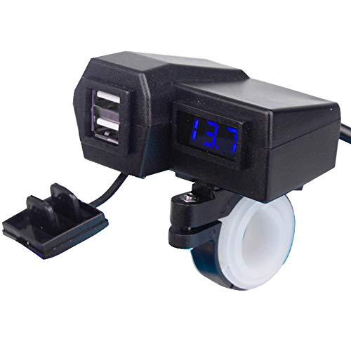 GoodFaith 4 en 1 - Cargador de motocicleta, voltímetro, adaptador USB doble, impermeable, para moto, con interruptor, Azul