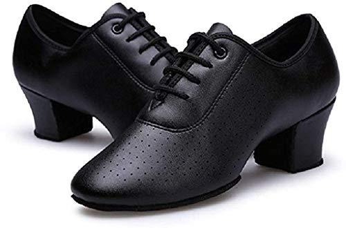 Gogodance 新品 Women Girls Professional Lace-up Black Leather Latin Salsa Tango Ballroom Modern Dance Shoes (8, Black)