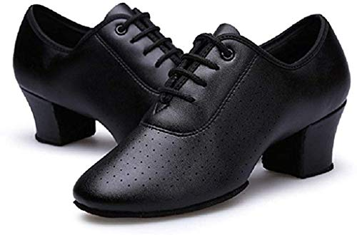 Gogodance 新品 Women Girls Professional Lace-up Black Leather Latin Salsa Tango Ballroom Modern Dance Shoes (5, Black)