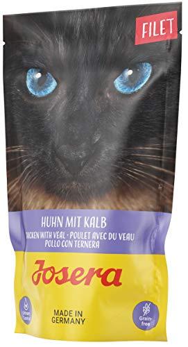 JOSERA Filet Huhn mit Kalb, getreidefreies Katzenfutter mit Filetstückchen, Super Premium Nassfutter für ausgewachsene Katzen, 16er Pack (16 x 70 g)