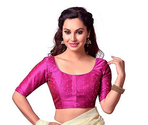Hiral Designer Mall Choli Top & Saree Blouse Readymade Indian Silk & All Sari Color Matching Blouse for Women Choli (36, Pink)