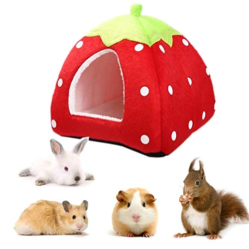 bangminda Casa de Hámster, Hogar de Invierno para Mascotas de Animales Pequeños, Cama Cálida de Felpa de Fresa, Nido de Fresa Suave para Conejo Chinchilla Erizo Hámster