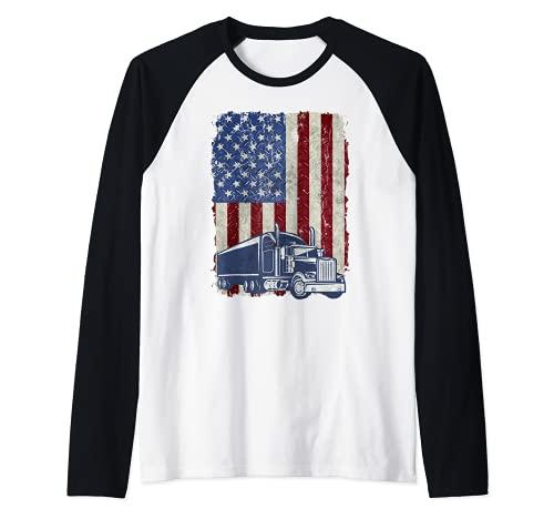Diseño vintage de la bandera americana camionero estadounidense camión conductor grunge Camiseta Manga...