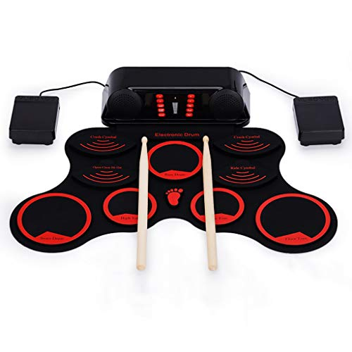 New LIfav Red Hand Roll USB Electronic Drum, 9 Pad Roll Up Drum Kit PVC Material Drum Portable Folde...