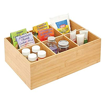 mDesign Bamboo Kitchen Pantry Organizer Bin - Natural Wood from