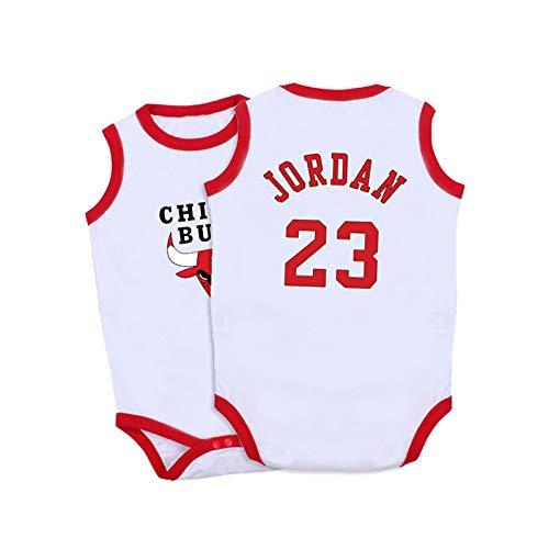 AXTMR Pijamas sin Mangas para bebés, adecuados para Camisetas de Baloncesto para bebés recién Nacidos de 3 a 15 Meses, 11 Estilos,Jordan-WHIITE,66CM