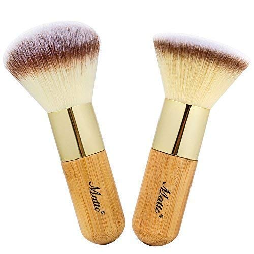 Price comparison product image Matto Bamboo Makeup Brush Set Face Kabuki 2 Pieces - Foundation and Powder Makeup Brushes for Mineral BB Cream