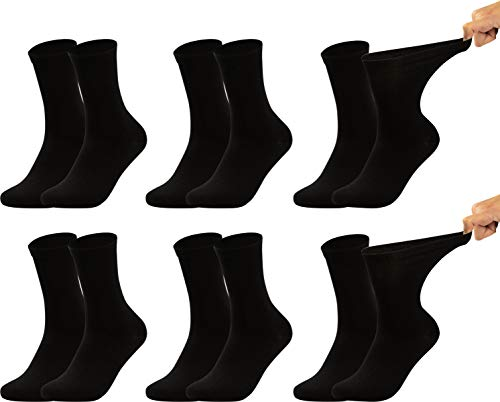 Vitasox 31124 Damen Gesundheitssocken extra weiter Bund ohne Gummi, Venenfreundliche Socken mit breitem Schaft verhindern Einschneiden & Drücken, 6 Paar Schwarz 43/46