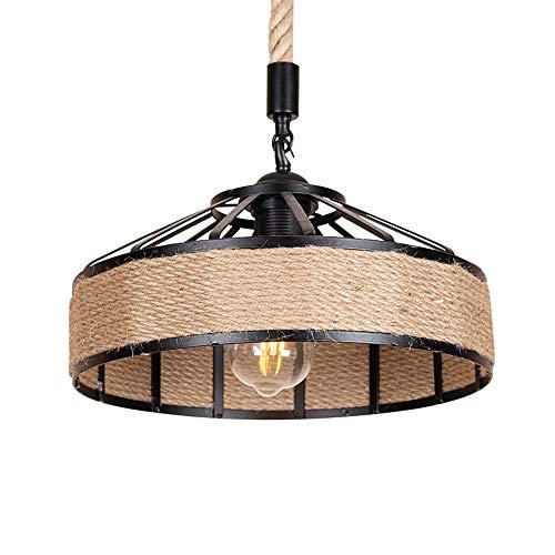 LIWENGZ Lámpara De Araña De Cuerda De Cáñamo Industrial Americana Retro Luz Colgante Tejida A Mano Creativa Luz Colgante De Metal Circular Simple E27 Lámparas De Comedor Y Sala De Estar De 11,8 Pulgad