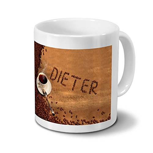 Tasse mit Namen Dieter - Motiv Kaffeebohnen - Namenstasse, Kaffeebecher, Mug, Becher, Kaffeetasse - Farbe Weiß