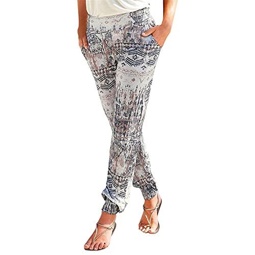 Pantalones Mujer Cintura Alta Boho Otoño Verano con Estampado Pants de harén, Pantalones de Playa Casuales fluidos Hippie Danza Pilates Yoga Pants, Casual Impreso Cintura de Cordón Pantalón