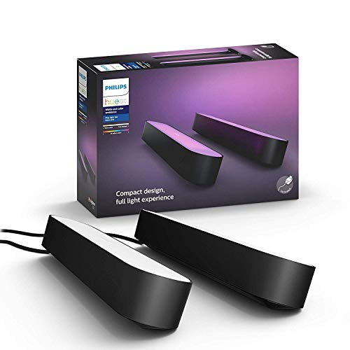 Philips Hue Play White & Color Ambiance Bar Smart Light, 2 Pack, Black (Requires Hue Hub, Works with Alexa, HomeKit and Google Assistant)