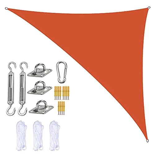 Jardín Sun Shade Sails Triangle Canopy con 3 Cuerdas Y Kit De Fijación, Sombra De Sol De Triangle Sombra, Impermeable Y Bloque UV, para Patios Al Aire Libre Cubierta Toldo,Naranja,4m x 4m x 5.7m