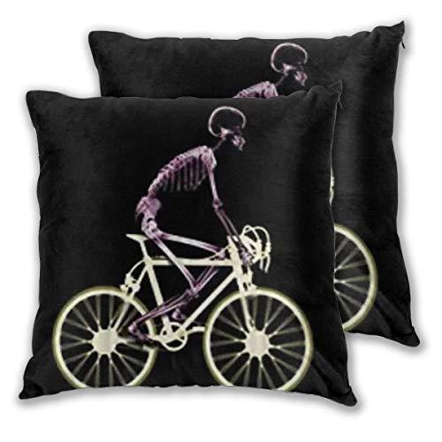 DECISAIYA 2 Funda De Almohada,Hombre Esqueleto Bicicleta Tiempo Libre Paseo Ciclismo Deporte,Decoración Cojines Sala De Estar Sofás para Camas Sillas Dormitorio Jardín Coche,50x50cm