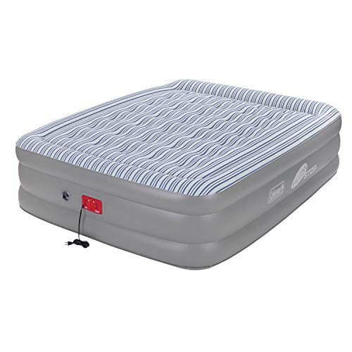 Coleman SupportRest Elite PillowStop Double-High Airbed , Grey/Stripe, Queen