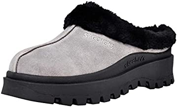 Skechers Women's Fortress Clog Slipper, Charcoal/Black, 8 M US