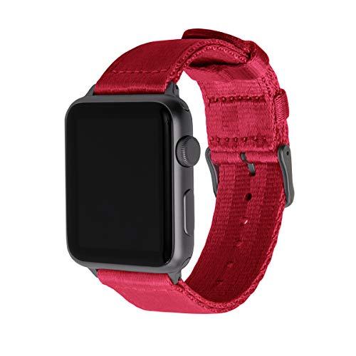 Archer Watch Straps   Cintura di Sicurezza Cinturino Ricambio di Nylon per Apple Watch   Cinturino per Uomo e Donna   Rosso/Grigio Siderale, 42/44mm