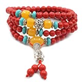 Jarodiso 6mm Perlas Pulsera de Piedra Natural 108 Perlas Tibet Meditación Budista Joya Cinnabar Collar
