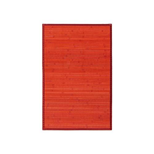 Alfombra Pasillera, Dormitorio o Salón de Madera Bambú(Rojo, 60 x 90 cm)