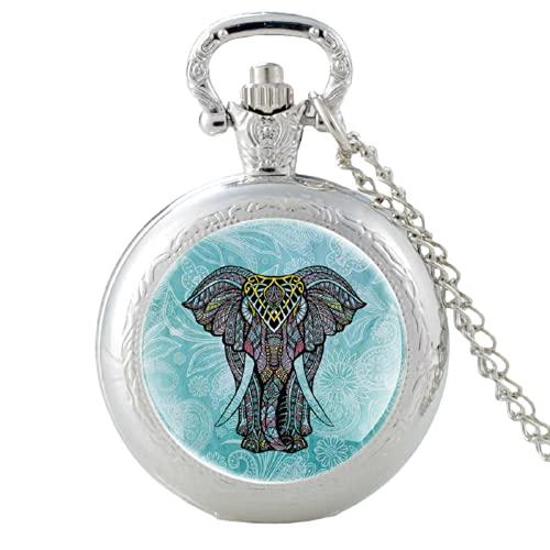 Lindo elefante patrón vintage cuarzo reloj de bolsillo hombres mujeres alta calidad colgante collar horas reloj