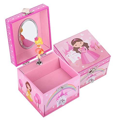 TAOPU Caja de Joyería Musical Cuadrada Dulce con Cajón Extraíble y de Princesa niña Giratoria Caja de Música Joyero para niñas