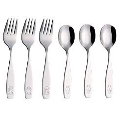 top 10 utensils for toddlers Exzact Kids Cutlery 6 Pieces Kids Safe Stainless Steel Cutlery Set – 3x Kids…