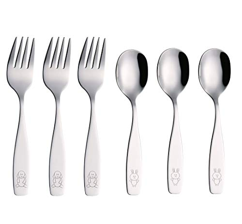 Exzact Kids Silverware 6 Pieces Children's Safe Flatware Set Stainless Steel - 3 x Children Forks, 3 x Children Tablespoons, Toddler Utensils, Metal Cutlery Set for Lunchbox (Engraved Dog Bunny)