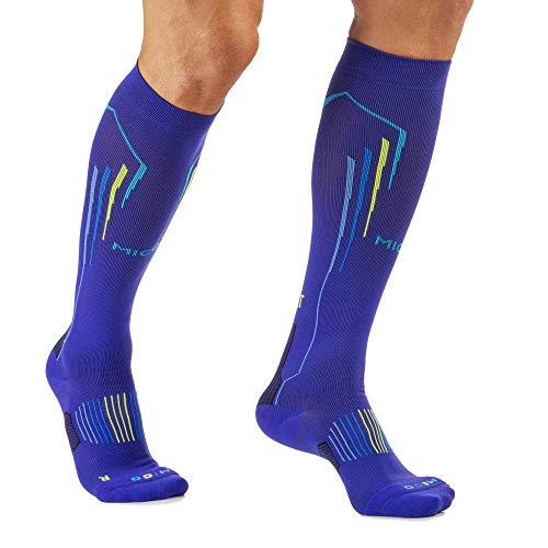 Mico hardloopschoenen met voet, lang, van nylon + lycra vezel, compressie OXI-Jet (+ zuurstof + regeneratie + energie), 100% gemaakt in Italië, voor dames, sporters, kleur blude