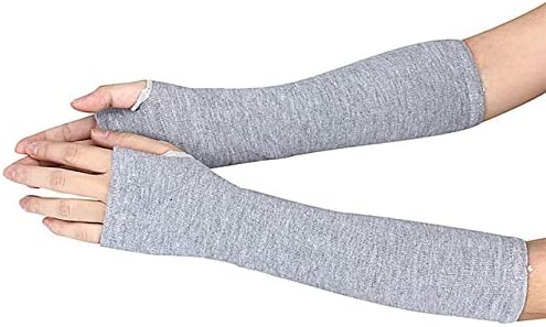 Arm Hand Gloves Winter Touch Screen Solid Mittens Winter Warm Mittens Knitted Fingerless Handschoene 30SR21 - (Color: Gray, Gloves Size: One Size)