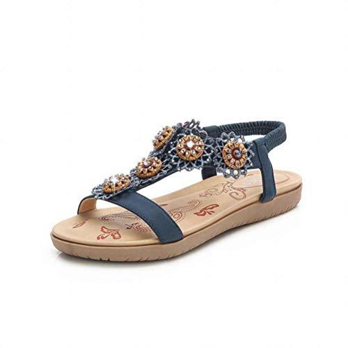 Women Sandals Casual Sandales Plates pour Femmes Strass à Têtes Rondes Fleurs Sandales pour Femmes Sandales Bohémiennes Confortables, Blue, 38