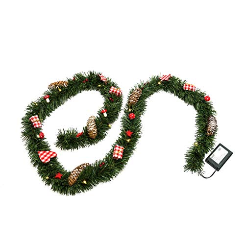 Pureday Weihnachtsdeko Girlande Hüttenzauber Beleuchtet mit 20 LEDs ca. 180 cm