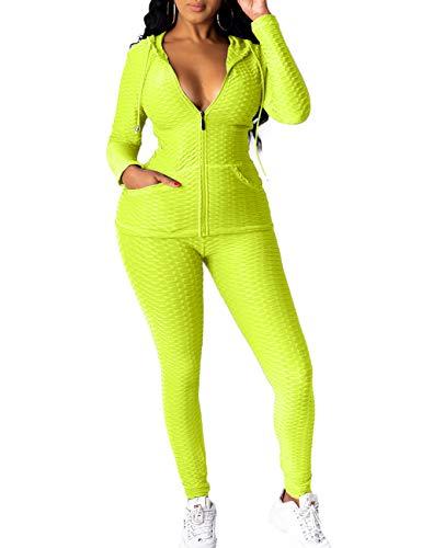 Lrady Women's 2 Piece Tracksuits Set-Hoodie Sweatshirt Jacket and Yoga Legging Workout Outfits Jogging Sweatsuits Set, Yellow, XX-Large