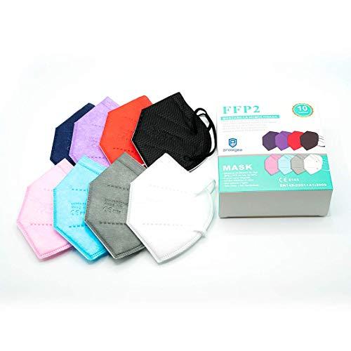10 mascherine FFP2 NR Colorate Omologate e certificate CE - Vari Colorate - Imballaggio individuale per una maggiore igiene e comfort - Protezione contro polvere e particelle (confezione da 10)