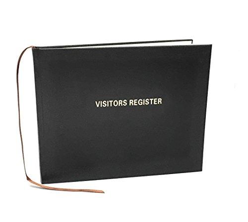 Visitors Register Book, 120 Pages, 8 7/8' X 7', Black Hardbound Cover, Smyth Sewn