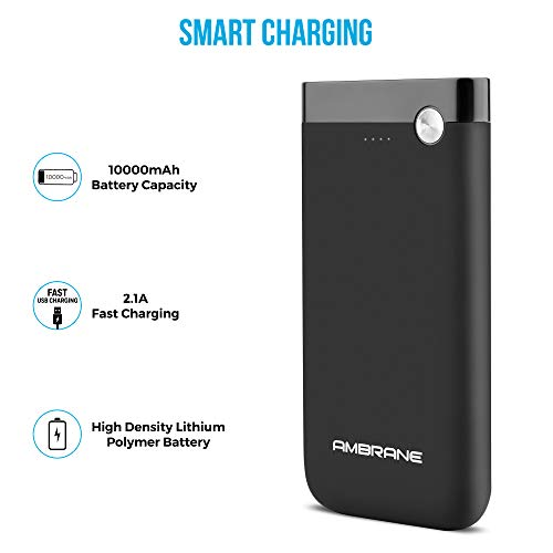 Ambrane 10000 mAH Lithium Polymer Power Bank with Micro/Type C Input for Android & iPhone (PP-11, Black) 1