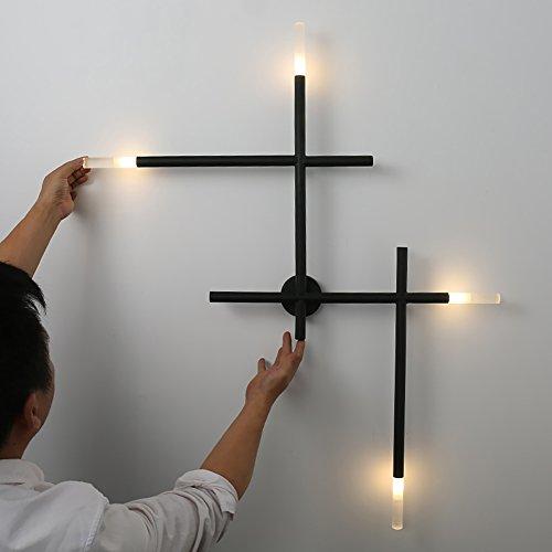 Applique murale moderne lignes design lampe murale murale design contemporain créative G4 x 4 Lampe de chevet LED Lampe de salon Noir Métal Plafonnier Lumière chaude