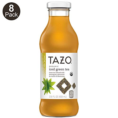 Tazo Organic Iced Tea, Green Tea, 13.8 Ounce Glass Bottles, 8 Pack