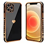 HUIYCUU for iPhone 12 Pro Max Case 6.7″,Cute Glitter Sparkle Plating Loving Heart Pattern Side Print Design for Girls Women,Luxurly Screen Camera Protection Shockproof Soft Bumper Silicone Cover,Black