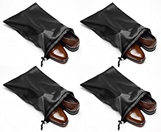 Tuff Guy Travel Shoe Bags with Drawstring and Center Divider (Black) -Set of 4 Soft Nylon Shoe Tote BagsTravel Shoe (18